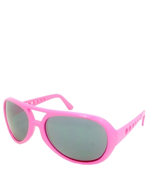 Elvis Sunglasses, Elvis Neon Pink Smoke Mirrow Style 5