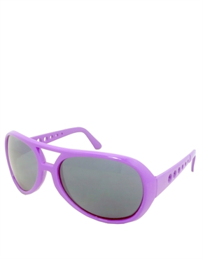 Elvis Sunglasses, Elvis Neon Purple Smoke Mirrow Style 5