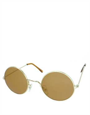 Teashade Sunglasses, Teashade Round Style 11, Gold Frame / Brown Lens