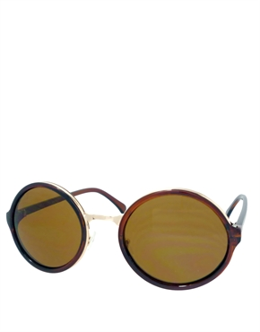 Teashade Sunglasses, Teashade Round Gold Brown Style 19