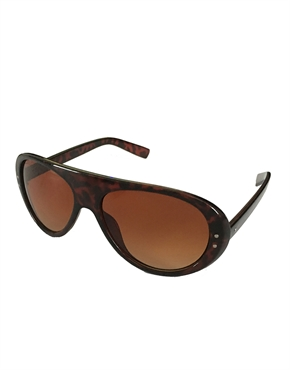 Bruce Dragon Style Aviator Sunglasses Tortoise Frame / Brown Gradient Lens