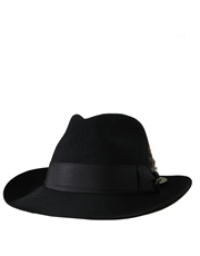 Fedora Fur Felt Suede Finish Hat, Style 2, Black
