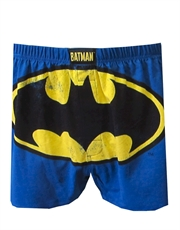 Batman Underwear, Mens Batman Underwear, Bat Logo Blue Boxer Shorts