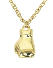 "Boxing Glove Necklace, Mens Boxing Glove Pendant on 18"" Rolo Chain, Gold Tone"