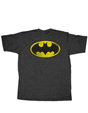 Batman T-Shirt, Batman Distressed Logo Dark Grey