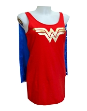 Wonder Woman Loungewear, Womens Wonder Woman Loungewear, Tank Style Night Shirt & Cape
