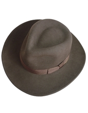 Indiana Jones Hat, Mens Officially Licensed Wool Felt Crushable Fedora Brown