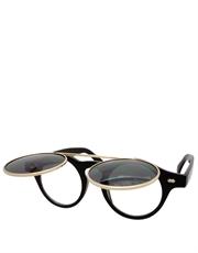 Teashade Sunglasses, Teashade Round Flip Gold Black Smoke Style 20