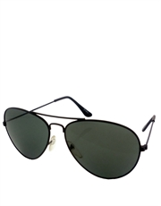 Stallion Style Aviator Sunglasses, Black Frame / Smoke Lens
