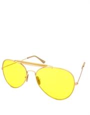 Lebowski Sobchak Style Aviator Sunglasses, Gold Frame / Yellow Lens