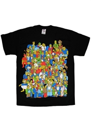 Simpsons T-Shirt, Simpsons Crowd Black