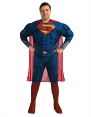 Man Of Steel Costume, Mens Superman Muscle Big Costume Style 2
