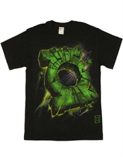 Green Lantern T-Shirt, Green Lantern Cracked Logo Black