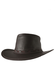 Outback Dark Brown Leather Hat