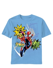 Spiderman T-Shirt, Spiderman Kids T-Shirt, Thwipping Light Blue