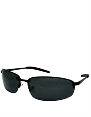 Shield Mackey Style Sunglasses, Black Frame / Smoke Lens