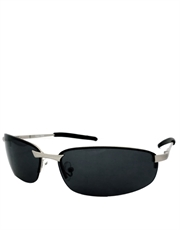 Shield Mackey Style Sunglasses, Silver Frame / Smoke Lens