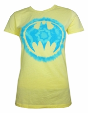 Batman Shield Dye Yellow Ladies T-Shirt