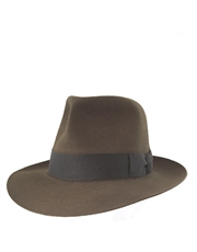 Adventurer Hat, Mens Fur Felt Fedora Light Sable Brown