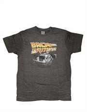 Back To The Future T-Shirt, Back To The Future Delorean Gull Wings Dark Grey