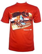 Spiderman T-Shirt, Spiderman Swinging Red