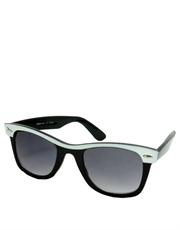 Innerspace M. Ryan Style Wayfarer Sunglasses, Black & White Frame / Smoke Gradient Lens