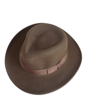 Indiana Jones Hat, Mens Indiana Jones Outback Hat, Crushable Wool Felt Brown