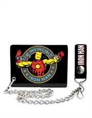 Iron Man Black Wallet with Chain