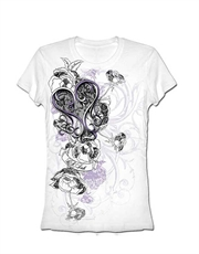 LA Ink T-Shirt, LA Ink Womens T-Shirt, Lace Flowers White