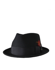 Stingy Fedora, Wool Felt Hat, Black