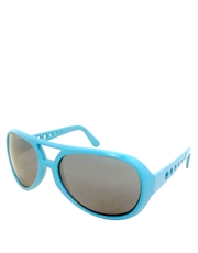 Elvis Sunglasses, Elvis Neon Turquoise Smoke Mirrow Style 5