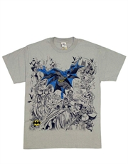 Batman T-Shirt, Batman Sketch Villains Grey