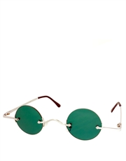 Teashade Sunglasses, Teashade Round Silver Green Style 18
