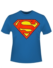 Superman T-Shirt, Superman Glow Big Logo Blue
