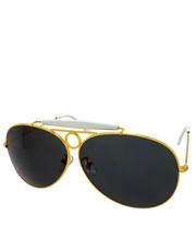 Top Gun Iceman Kilmer Style Aviator Sunglasses, Gold Frame / Smoke Lens