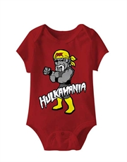 WWE Bodysuit, WWE Baby Bodysuit, Hulk Hogan Cartoon Red