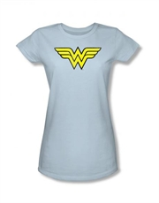 Wonder Woman Vintage Logo Sky Blue Ladies T-Shirt