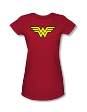 Wonder Woman Shield Red Ladies T-Shirt