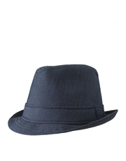 Fedora Hat, Cotton Blend, Navy