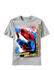 Spiderman T-Shirt, Spiderman Kids T-Shirt, Amazing Spiderman Movie Abilities Grey
