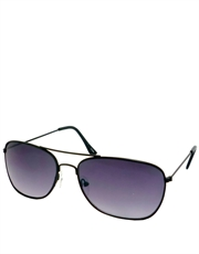 Square Sunglasses, Style 8, Black Frame / Purple Gradient Lens