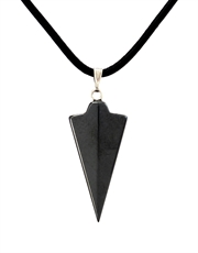 Hematite Spear on Black Leather Cord Necklace