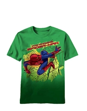 Spiderman T-Shirt, Spiderman Kids T-Shirt, Amazing Spiderman Movie Aerial Flying Green Dip Dyed
