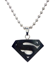 Superman Necklace, Superman Black Symbol Steel Pendant Necklace