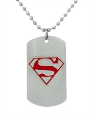 Superman 3D Symbol Steel Dog Tag Necklace