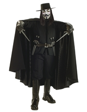 V For Vendetta Costume Accessory, Mens V For Vendetta Costume Cape Style 2