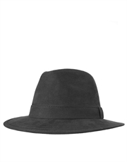 Safari Hat, Faux Suede Hat, Black