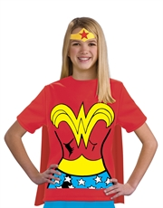 Wonder Woman Costume, Kids Wonder Woman Logo Red Costume T-Shirt