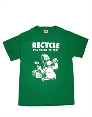 Simpsons T-Shirt, Simpsons Homer Recycle Green