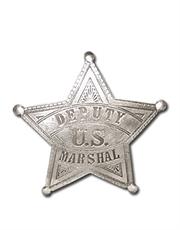Western Cowboy Deputy US Marshal Silver Badge